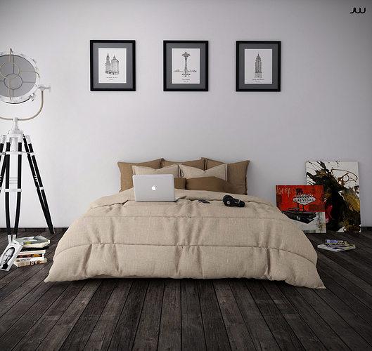 bedroom minimalist 3d model skp 1