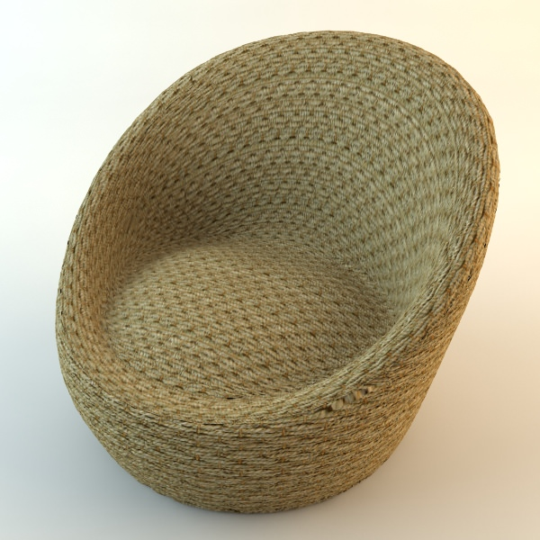 wicker chairs ottoman 3d model max obj 3ds fbx mtl 6