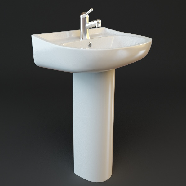 bathroom pedestal sink 3d model max obj 3ds fbx mtl 1