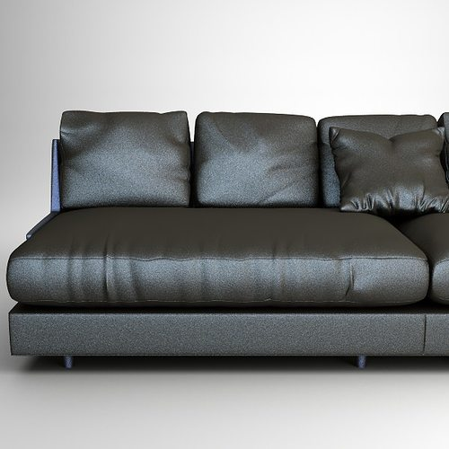 Black Leather Couches 3d model contemporary black leather sofa | cgtrader