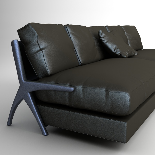 Contemporary Black Leather Sofa | 3D model