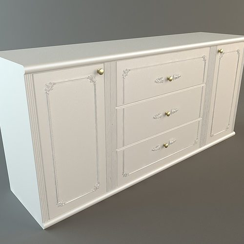White Credenza Cabinet 3d Cgtrader