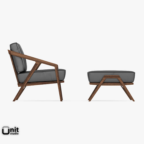 ... katakana lounge chair ottoman by dare studio 3d model max obj 3ds fbx dwg unitypackage 6 ... : lounge chair and ottoman - Cheerinfomania.Com