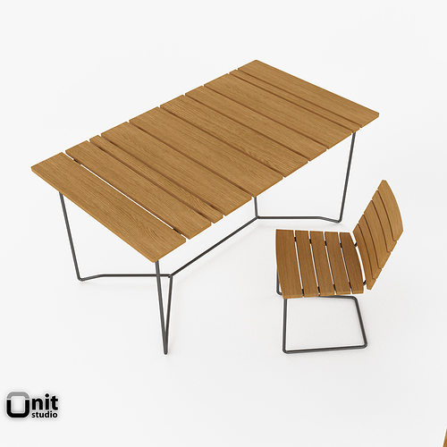 Skargaarden outdoor table and chair 3D model | CGTrader