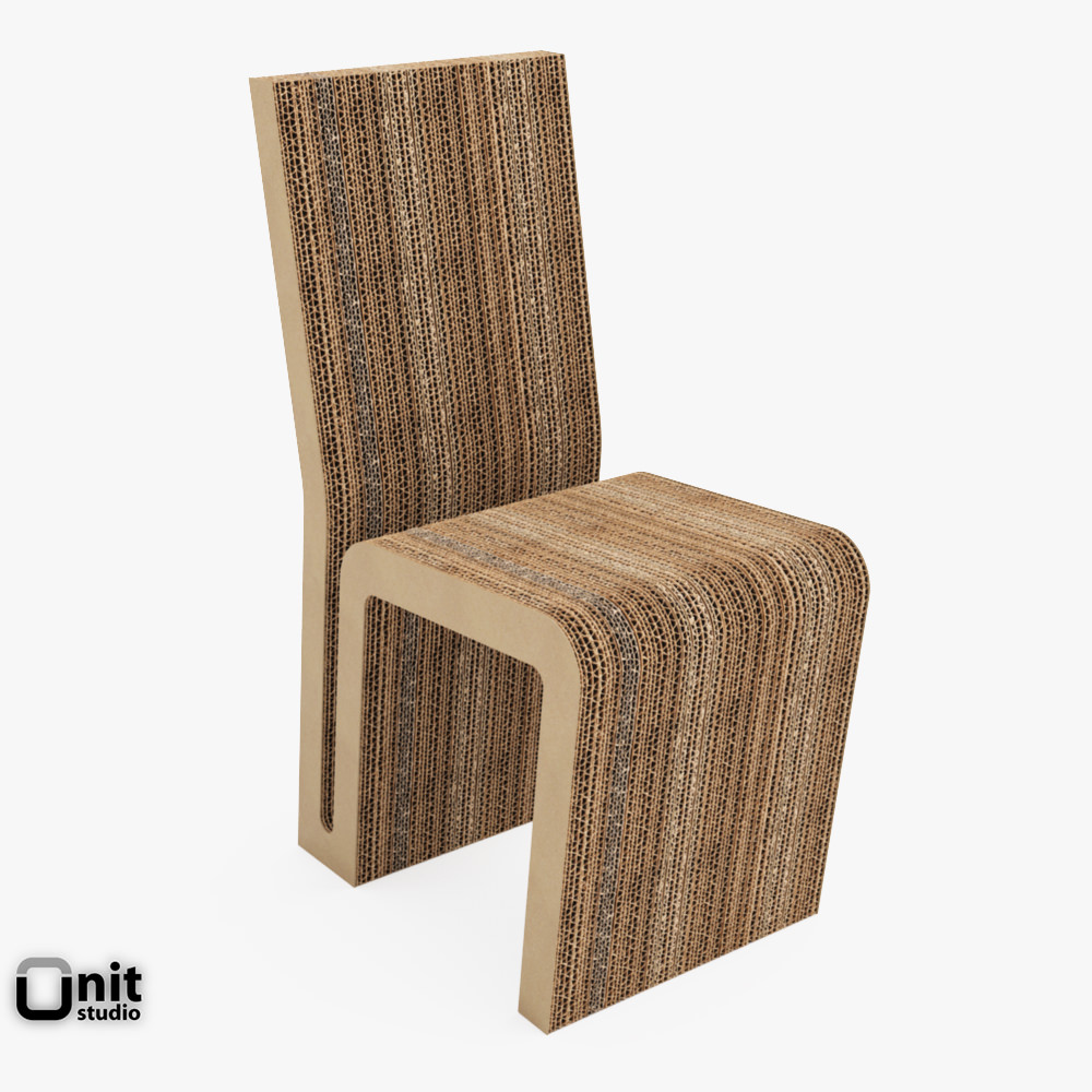 Vitra easy edge side chair by frank o gehry 3d model max for Simple edge