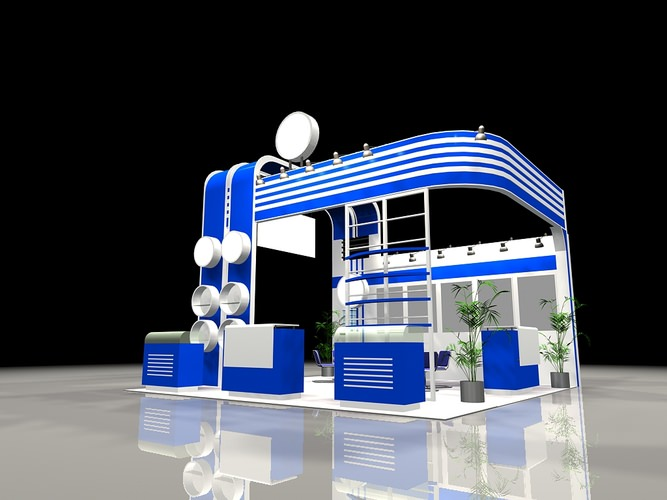 D Modelling Of Exhibition Stands : Interior d model exhibit booth cgtrader