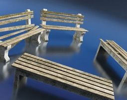 game-ready 3d model benches