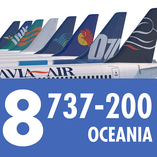 737 200 Collection Eight Oceania Airlines 3D model MAX OBJ