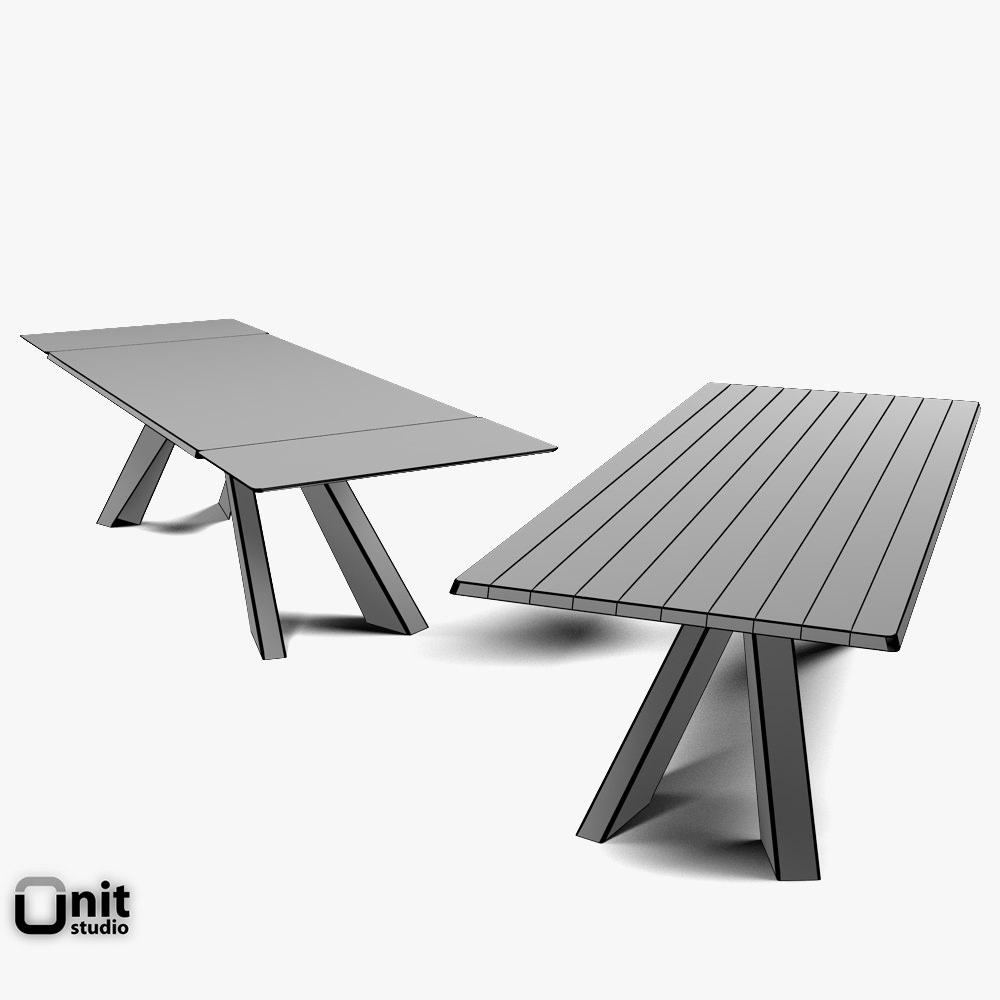 Big Table Bonaldo Extendable D CGTrader - Picnic table dwg
