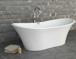 Jacuzzi Infinito Bathtub with floor standing faucet 3D