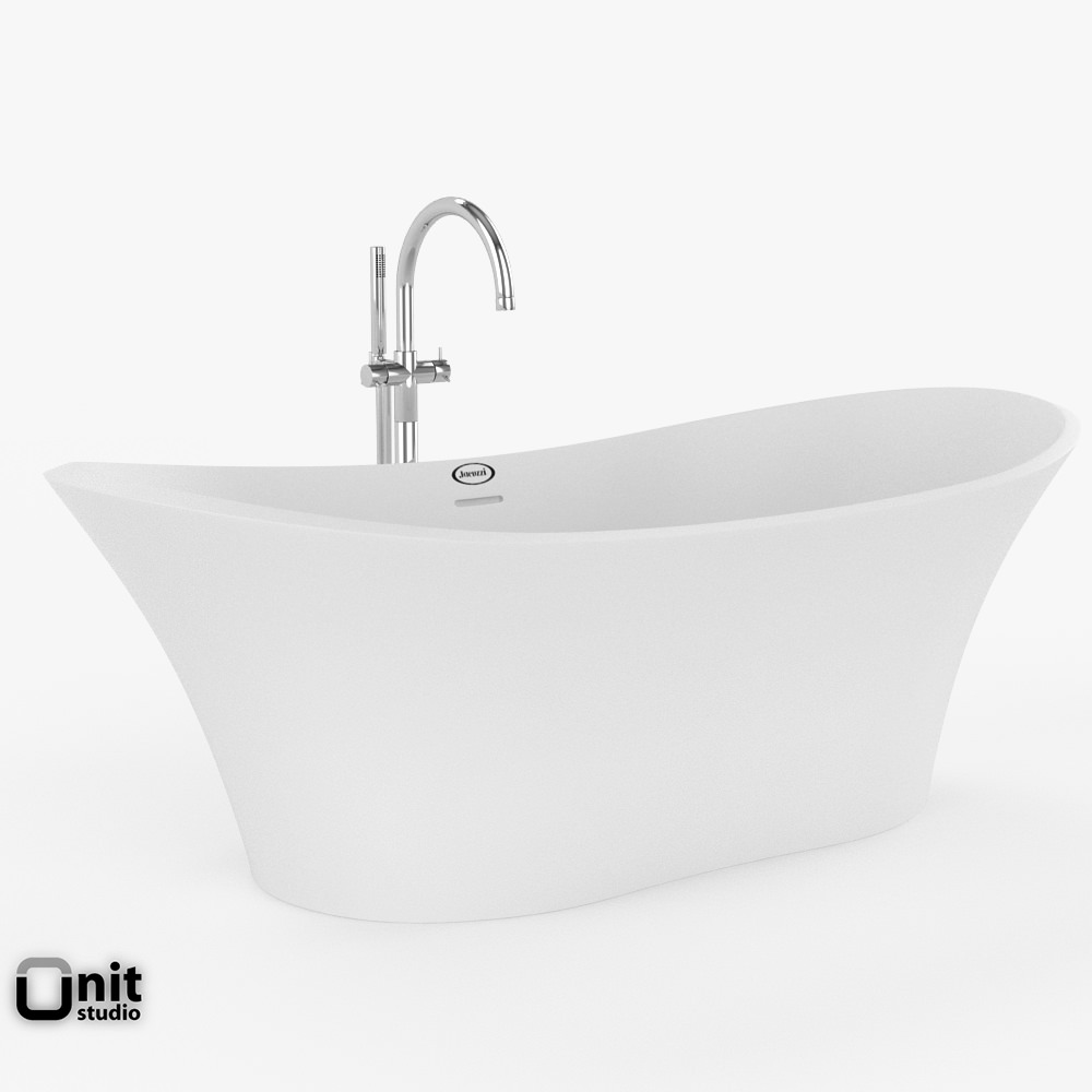 Jacuzzi Infinito Bathtub With Floor Standing Faucet 3d Model Max Obj 3ds Fbx Dwg