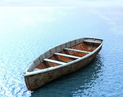 wooden boat game-ready 3d model