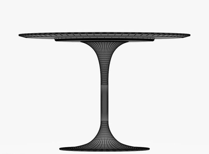 Saarinen Dining Table 42 Round Free 3d Model Max Obj 3ds