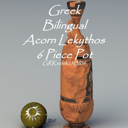 greek bilingual acorn lekythos 6 piece pot grkaclek25bi06 3d model obj lwo lw lws 1