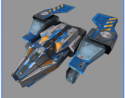 6x lowres spaceships 3d model
