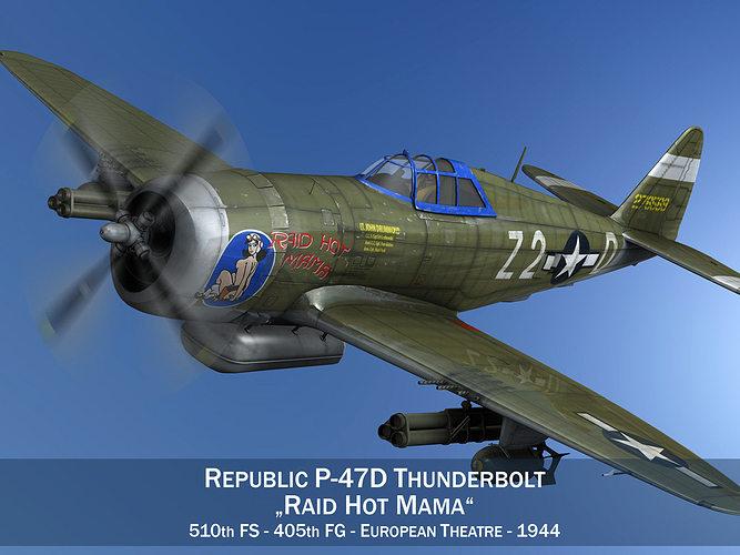 republic p-47d thunderbolt - raid hot mama 3d model obj 3ds fbx c4d lwo lw lws mtl 1