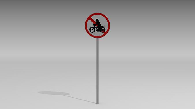 motorcycles prohibited sign 3d model obj blend mtl 1