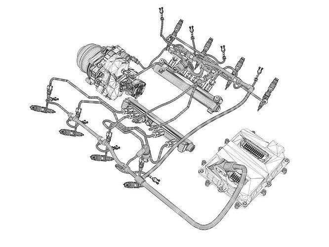 3d Injection System Of A V8 Engine