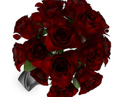 3d model red roses in black vase