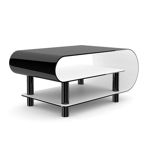 Modern Black Glossy Coffee Table 3D Model