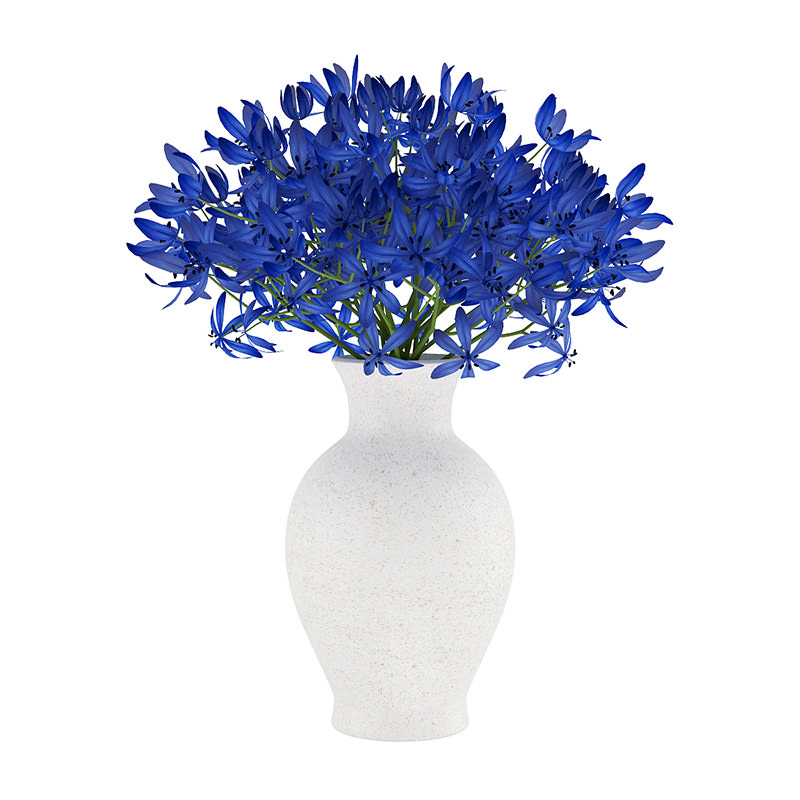 Blue Flowers In White Vase 3d Cgtrader