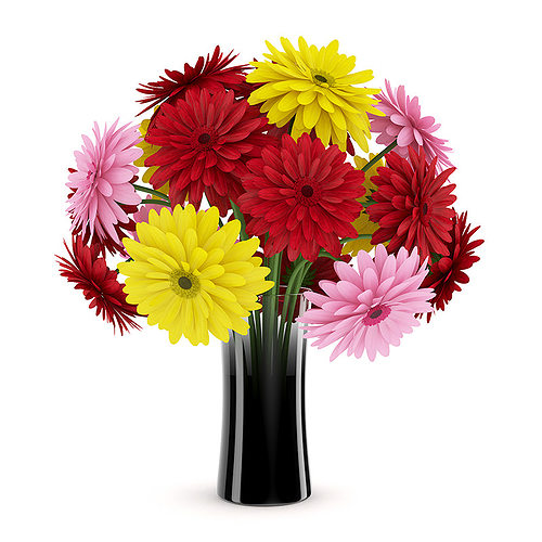 Greatest 3D Three-Color Flowers in Black Vase | CGTrader WO99