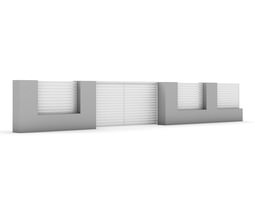 3D Concrete Fence with Gate 04