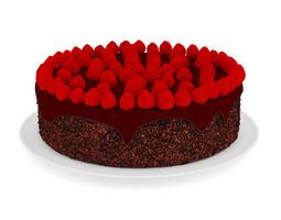 Chocolate Cake with Raspberries 3D model