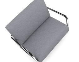 3D model Grey Fabric Armchair