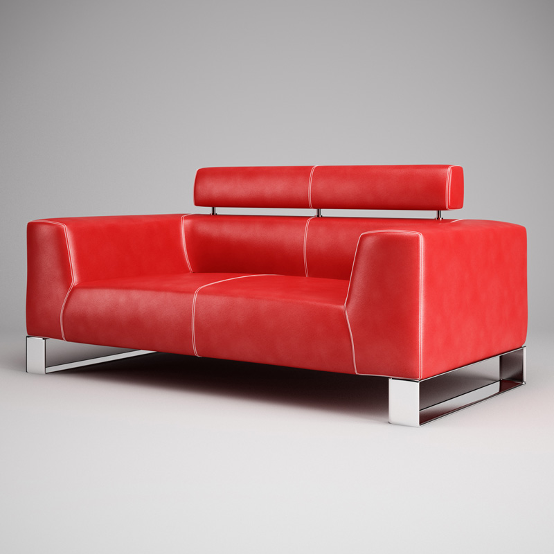 ... Red Leather Sofa 01 3d Model Max Obj Fbx C4d 2