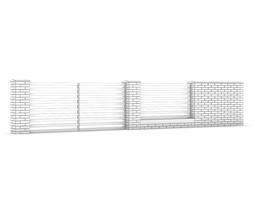 3D Concrete Fence with Gate 03