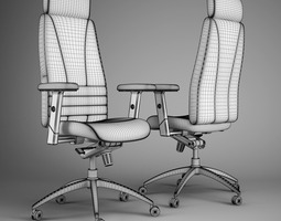 Office chair 3D model grilling