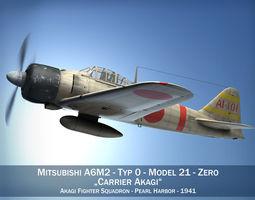 3D model Mitsubishi A6M2 Zero - Carrier Akagi