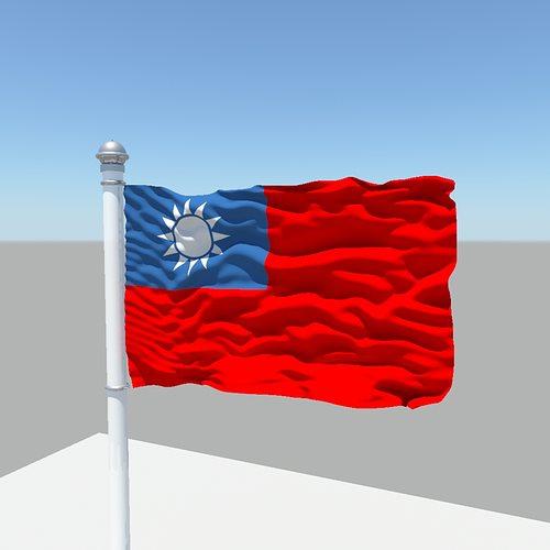 taiwan flag 3d model obj mtl fbx ma mb 1