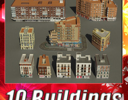 VR / AR ready 3d model building collection 51 - 60