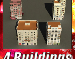 3d model building collection 37-40 game-ready