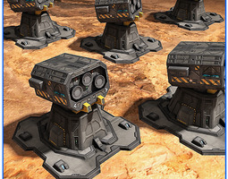 3d model scifi base defense tower free pack 03