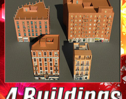 building collection 61-64 low-poly 3d model