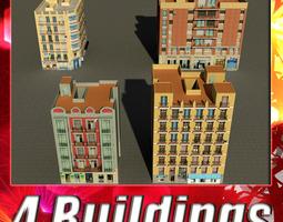 building collection 93-96 3d model low-poly max obj 3ds fbx