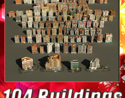 3d asset 104 buildings collection game-ready