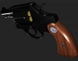 38 caliber snub nose revolver textured obj 3d