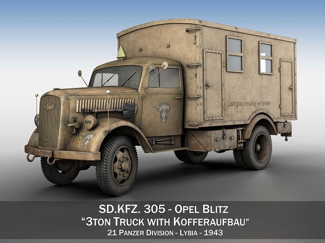 opel blitz - 3t cargo truck with kofferaufbau- 21 pzdiv 3d model obj mtl 3ds fbx c4d lwo lw lws 1