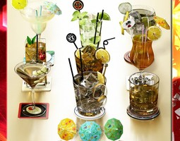 9 Cocktails collection 3D model