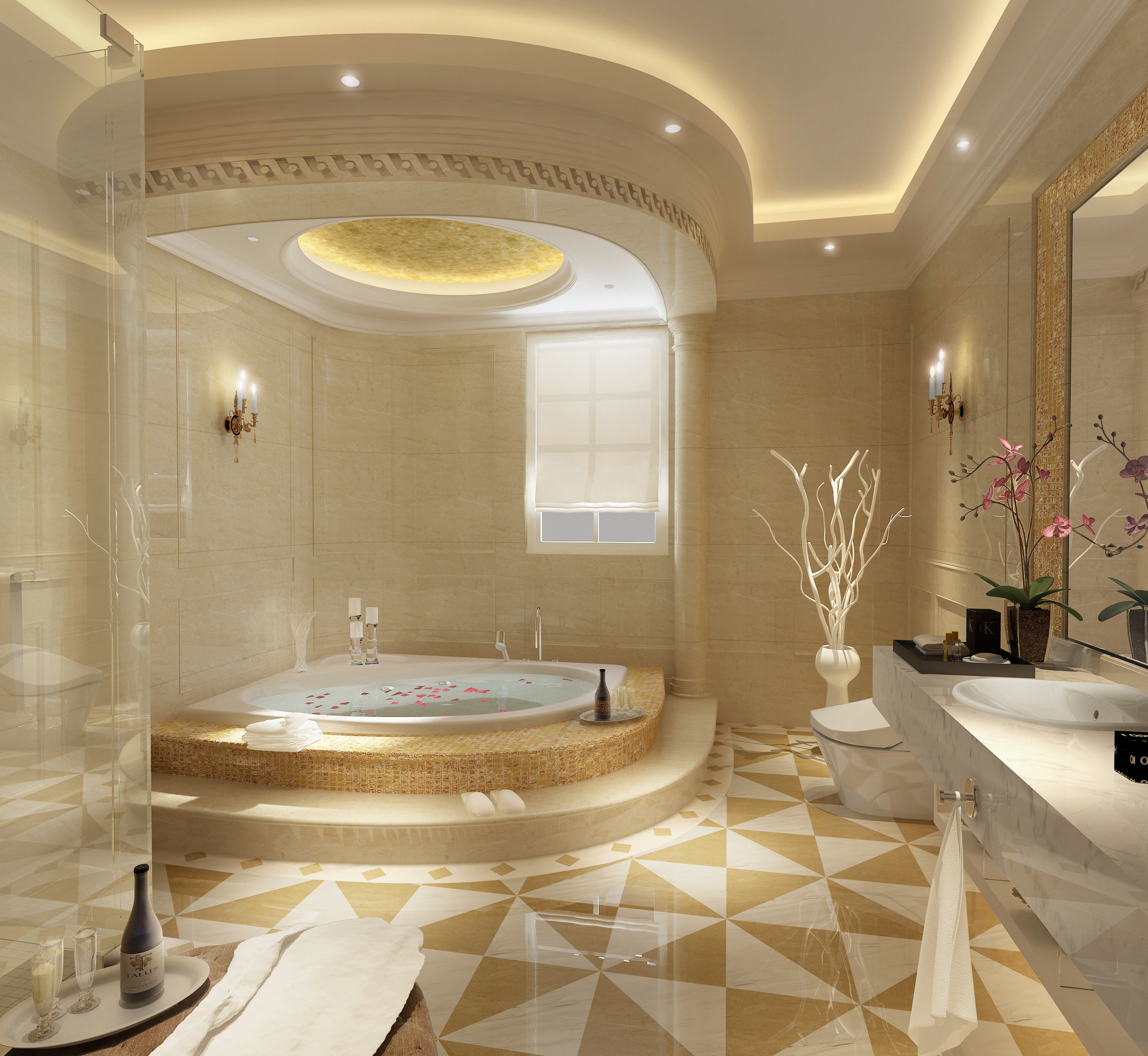 Luxurious Bathroom With Big Bath 3d Model Max 1