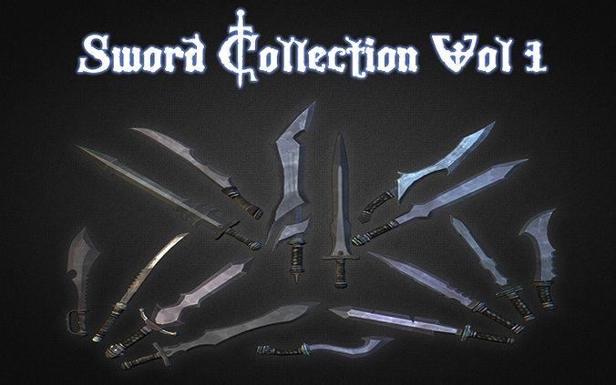 sword collection vol 1 3d model low-poly max obj mtl 3ds fbx dxf dwg 1
