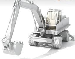 3d model excavator bres500 with wheels