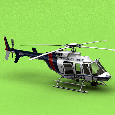 bell 407 virginia state police 3d model animated max 3ds fbx c4d lwo lw lws ma mb 1
