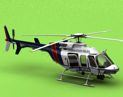 bell 407 virginia state police 3d model max 3ds fbx c4d lwo lw lws ma mb