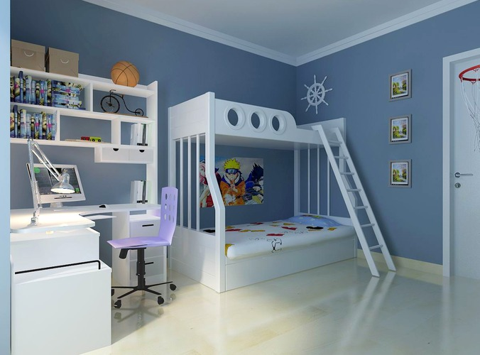 blue children bedroom 3d model max 1