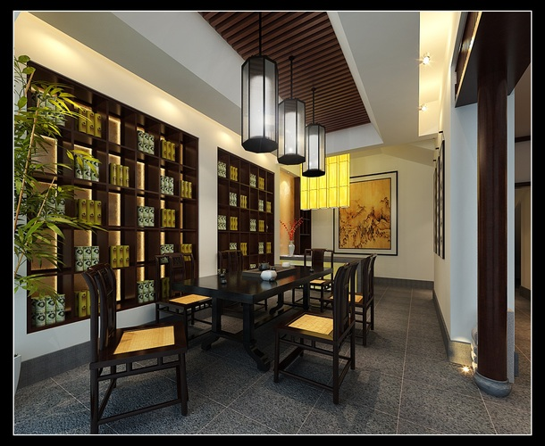 Chinese style dining room 3d model max for Dining room 3d max model